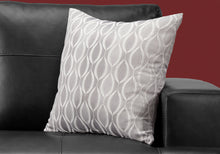 "Load image into Gallery viewer, I 9346 PILLOW - 18""X 18"" / GREY WAVE PATTERN / 1PC"
