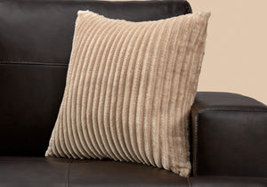 "I 9354 PILLOW - 18""X 18"" / BEIGE ULTRA SOFT RIBBED STYLE / 1PC"