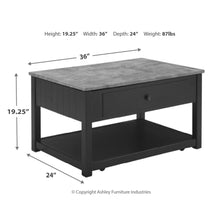 Load image into Gallery viewer, Ezmonei Lift Top Cocktail Table - Black/Gray