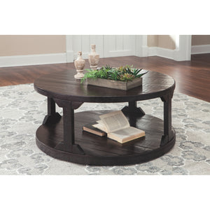Rogness Round Cocktail Table - Rustic Brown
