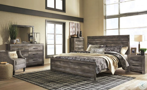 Wynnlow King Panel Bed 6 Pc Set (Bed,Dresser,Mirror & x1 Night Stand)