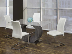 Napa Collection 5-Piece Glass Dinette with White Chairs