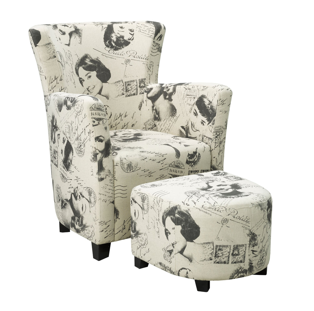 Club Chair with Ottoman, Marilyn Monroe Print