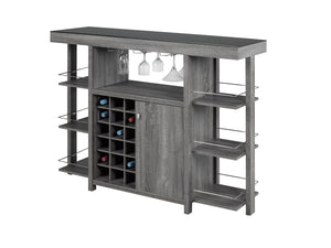 Dolce Bar Cabinet with Smoked Glass Top - Grey