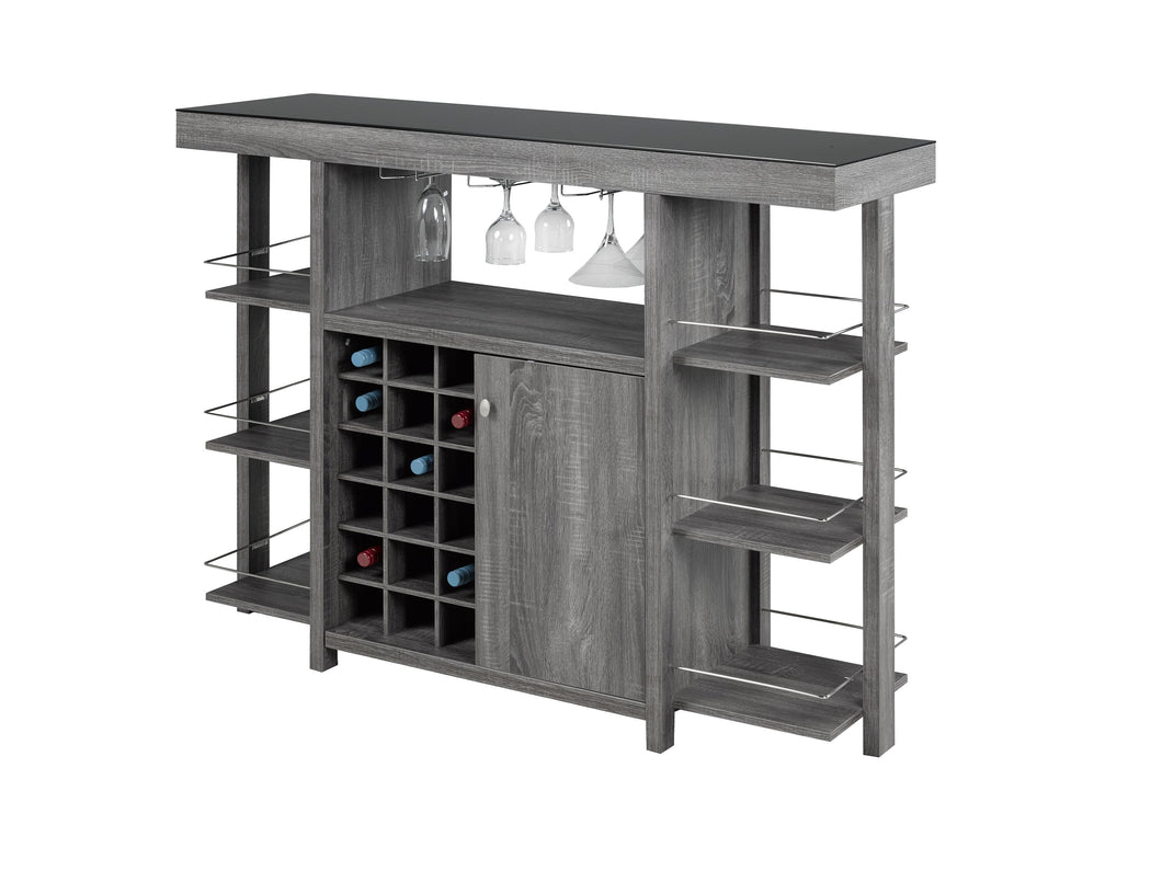 Bar Cabinet with Smoked Glass Top - Grey