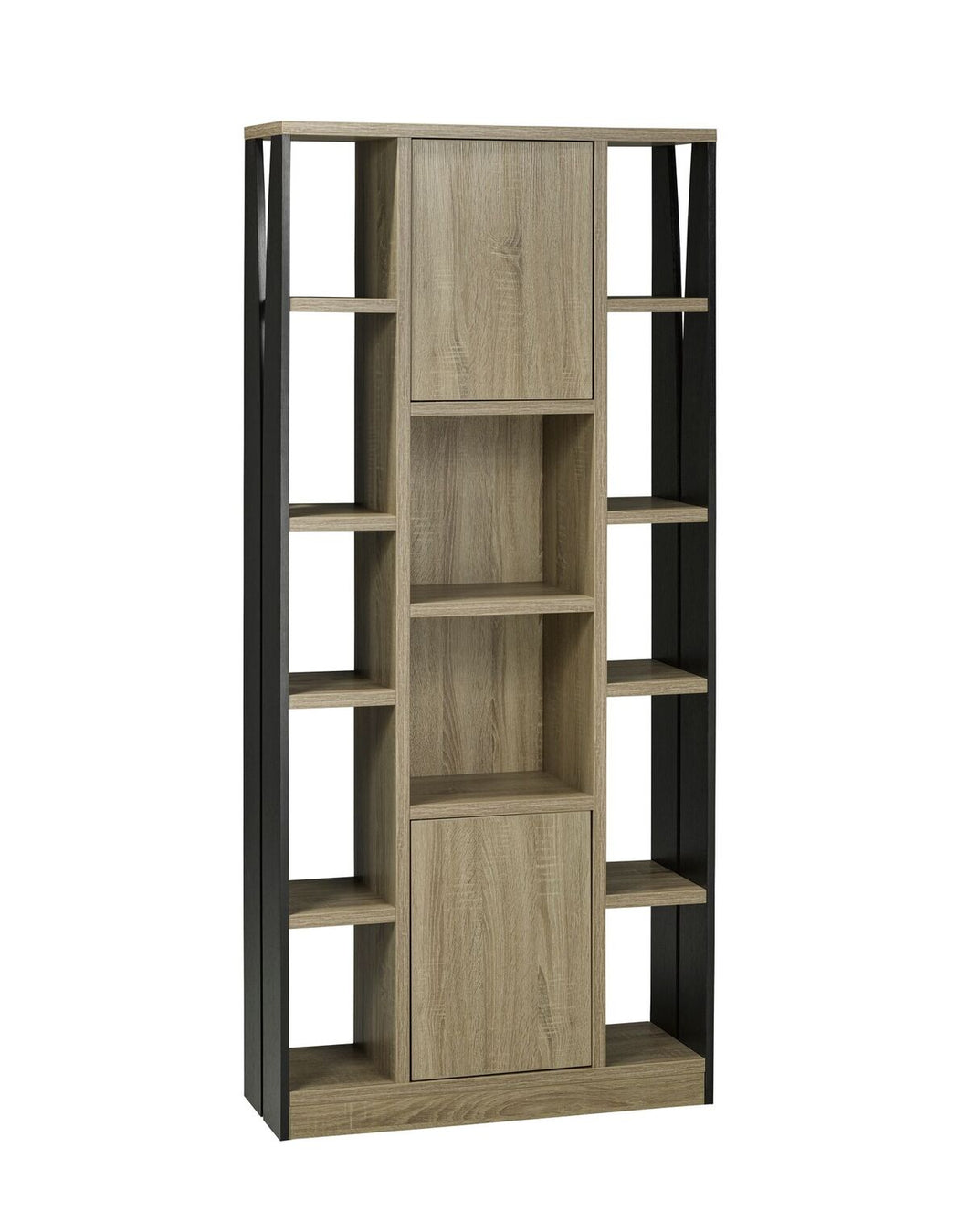 Multi-Tier Display Cabinet with Storage, Dark Taupe/Black