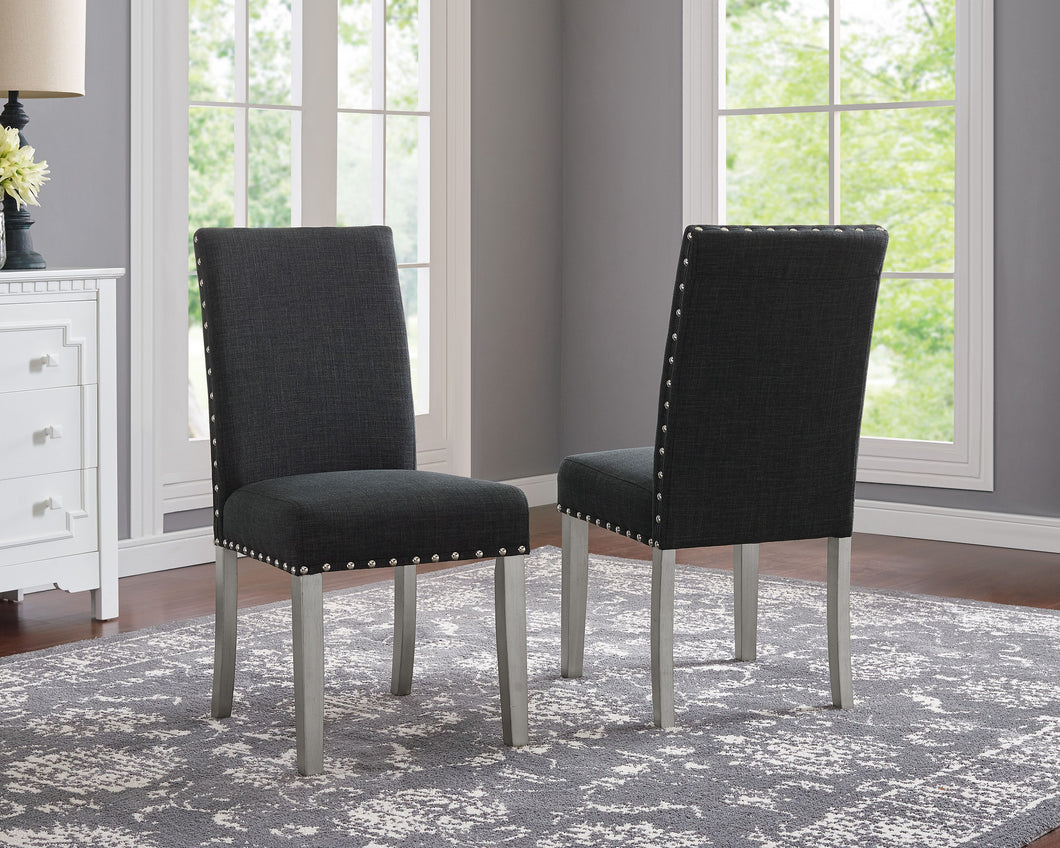 Bella Dining Chair with Nail-Head Trim - Dark Grey ( Set of 2)