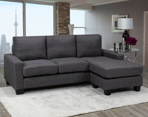 Hilton Sectional with Reversible Chaise, Grey