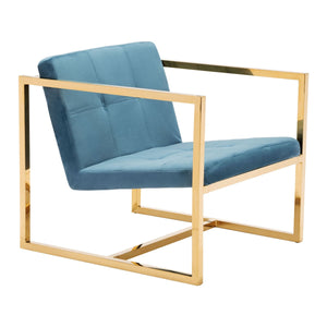 Goldfinger Alt Arm Chair Blue Velvet