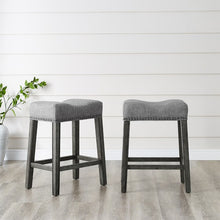 Load image into Gallery viewer, Oakland 26' Saddle Counter Stool,  Grey (Set of 2)