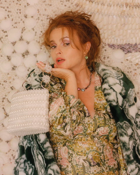 Helena Bonham Carter wears Shrimps Pre Fall 20