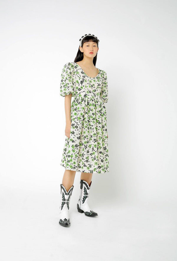 Brock Dress - Cream and Green