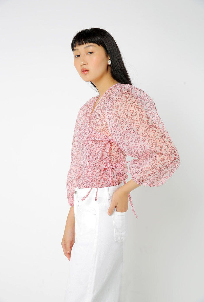 Cordelia Blouse - White and Red