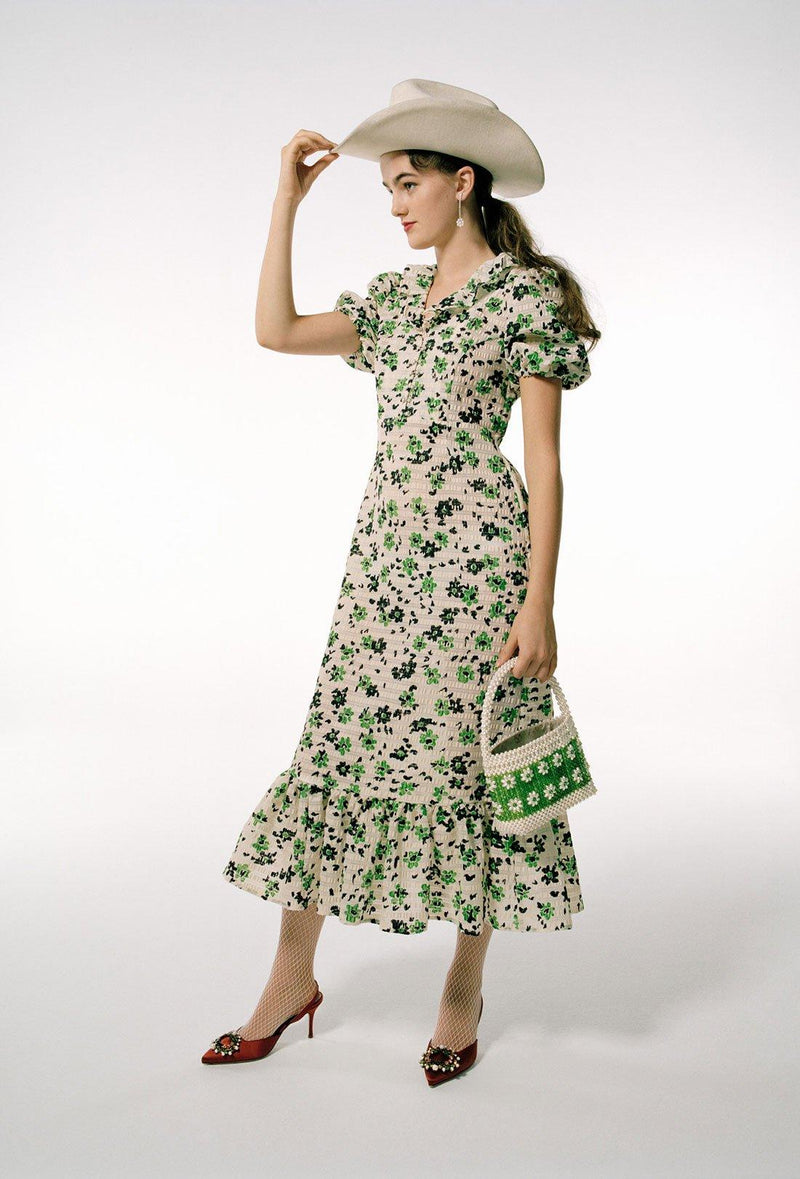 Oakley Dress - Cream and Green