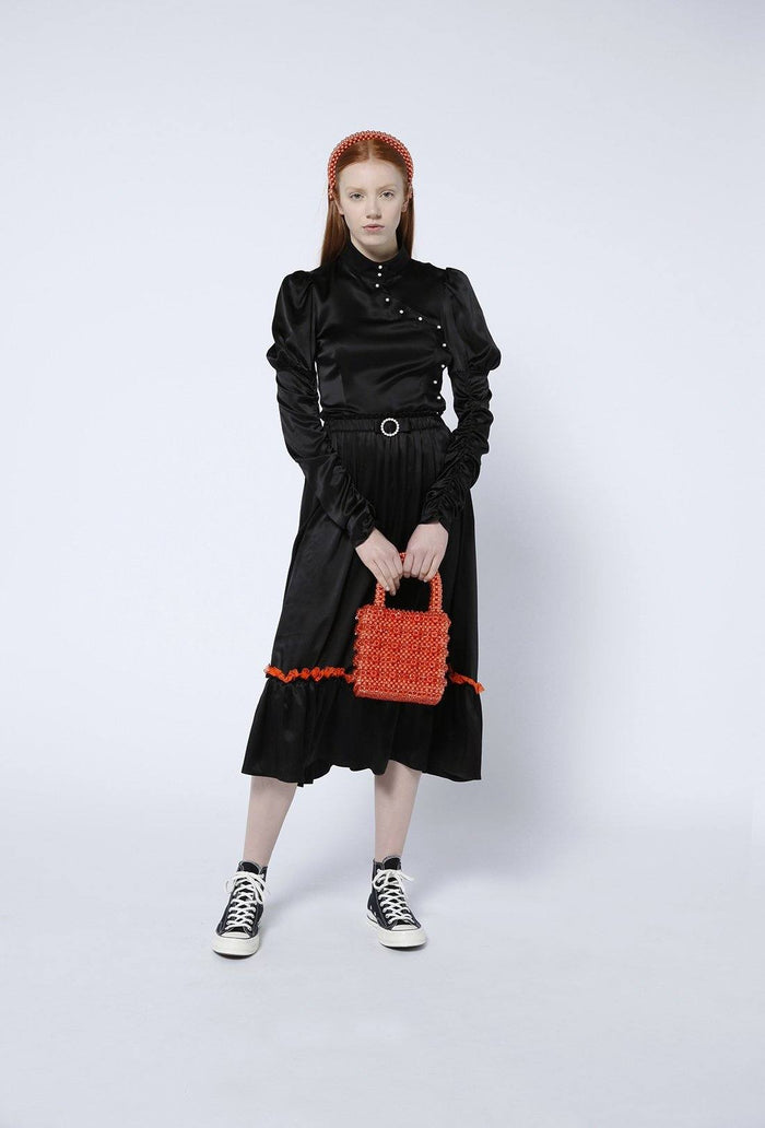 Pearl Skirt - Black and Orange, shrimps