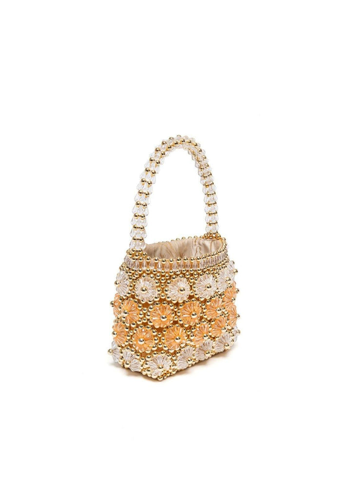 Shelly Bag - Gold and Apricot, shrimps