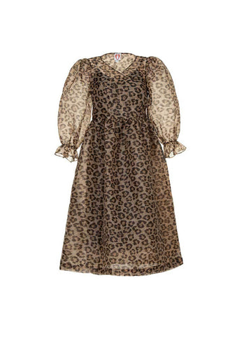 SHRIMPS TRINITY LEOPARD ORGANZA DRESS
