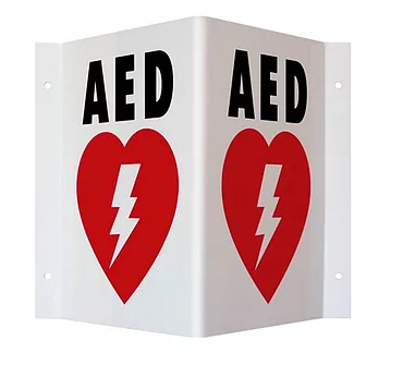 AED On Site Wall Sign - 3-Way