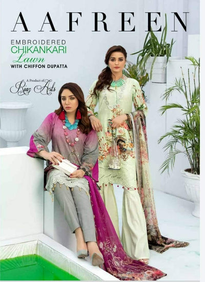 Afreen Embroidered Chikankari Lawn by Riaz Arts