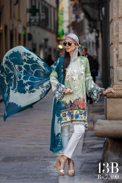 Sana Safinaz Luxury Lawn Collection 2019 – 13B - Oleandro