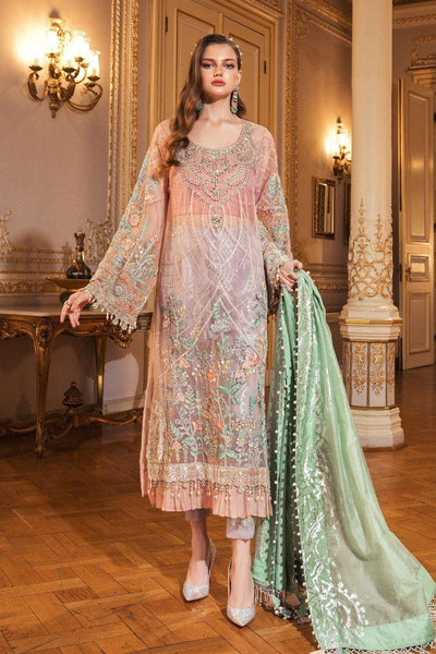 Restocked/Maria B Mbroidered Wedding Edition/Fresh Peach (BD-2003) - AWWALBOUTIQUE