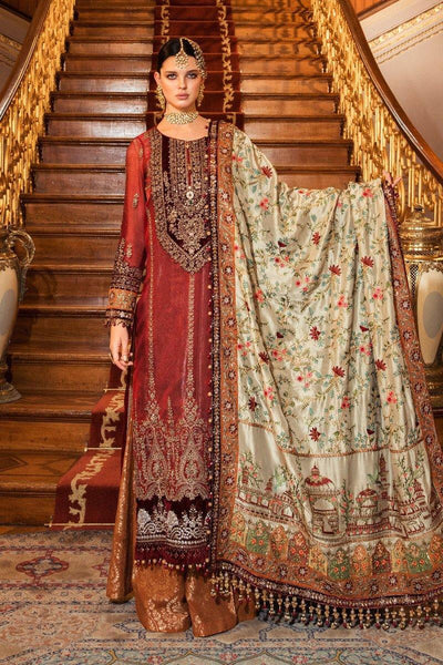 Restocked/Maria B Mbroidered Wedding Edition/Maroon (BD-2006)s - AWWALBOUTIQUE