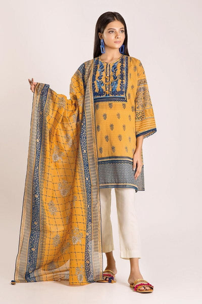 Khaadi Autumn Collection 2019 – M19421 Yellow 2Pc