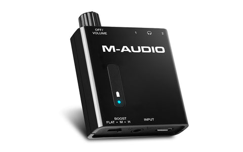 M-AUDIO Bass Traveler -  Portable Headphone Amplifier with Dual Outputs and 2-Level Boost