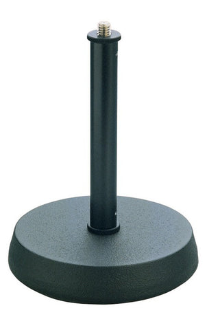 Steel table microphone stand with heavy, round cast-iron base