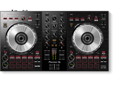 DDJ-SB3 - 2-channel performance DJ controller/mixer with built-in sound card for use with Serato DJ Lite software