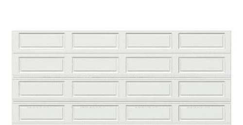 16 x 7 Thermacore Insulated Steel Garage Door (Long) white panels, no window