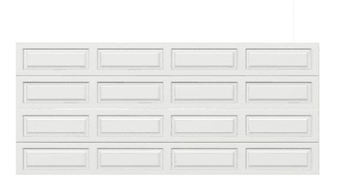 16 x 7 Traditional Steel Garage Door (Long) white panels, no window