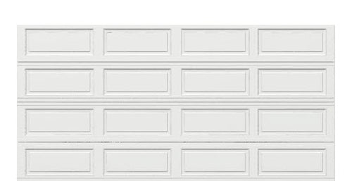 16 x 8 Thermacore Insulated Steel Garage Door (Long) white panels, no window