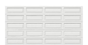 16 x 8 Traditional Steel Garage Door (Long) white panels, no window