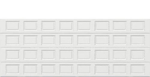 18 x 7 Traditional Steel Garage Door (Standard) white panels, no window