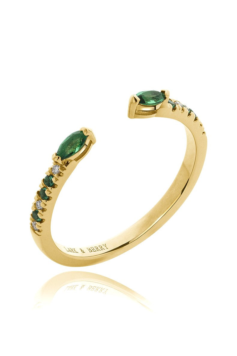 Veto Open Stackable Ring- Emerald