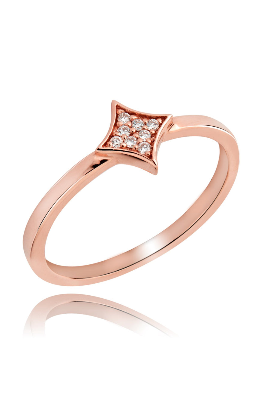 Rhombus Diamond Pavé Ring Rings Lark and Berry Rose Gold US(6 1/4)