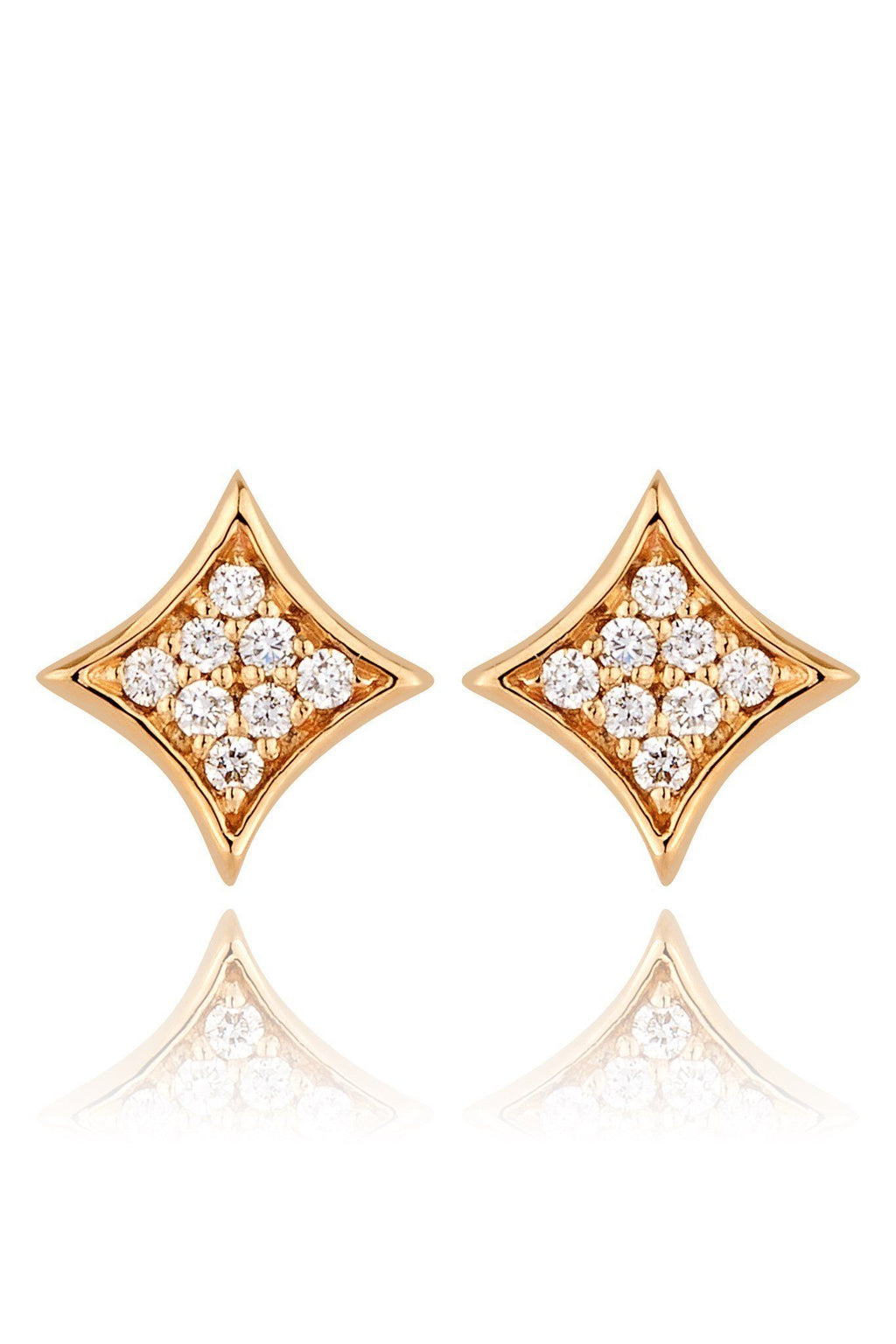Rhombus Diamond Pavé Stud Earrings Earrings Lark and Berry Yellow Gold