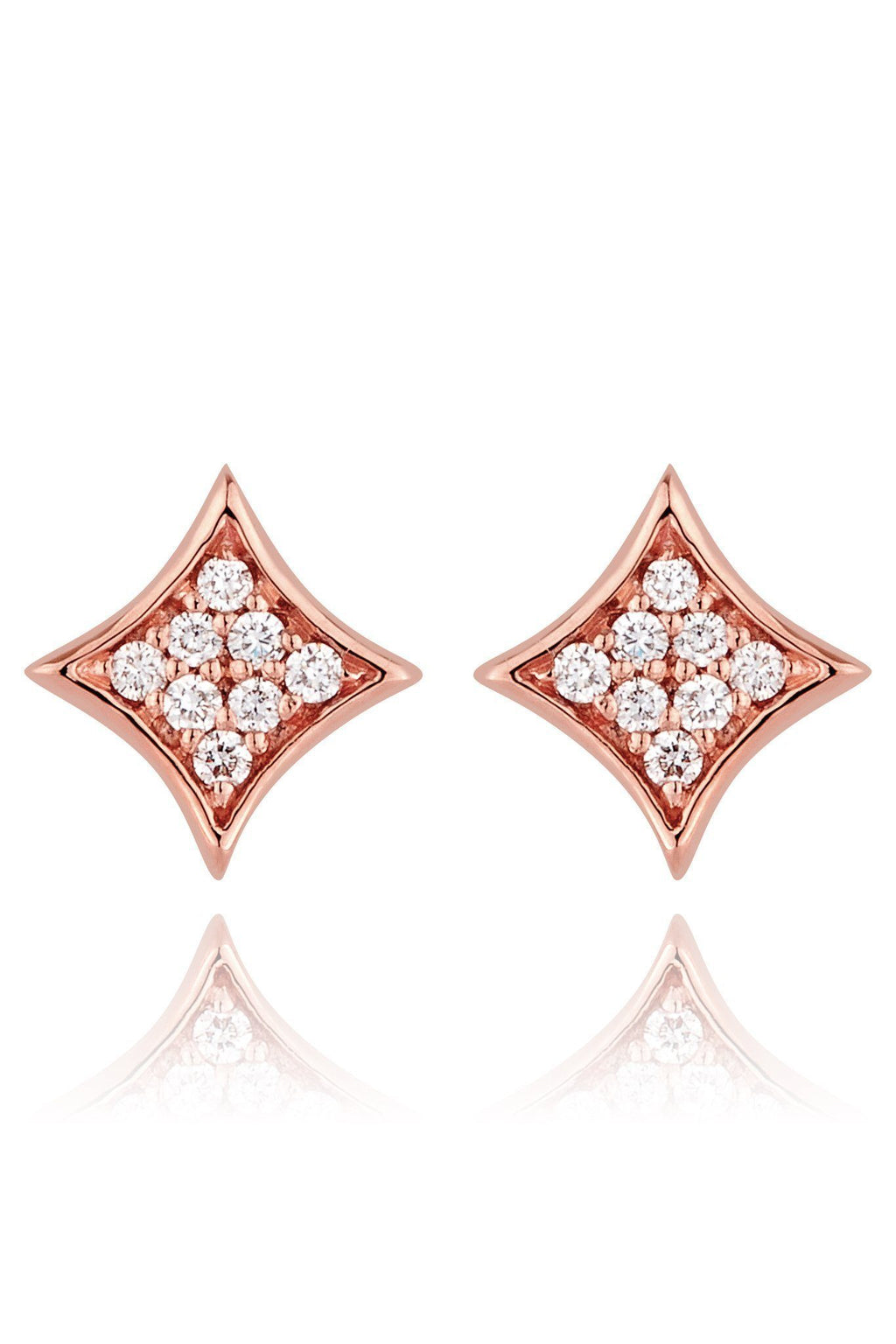 Rhombus Diamond Pavé Stud Earrings Earrings Lark and Berry Rose Gold