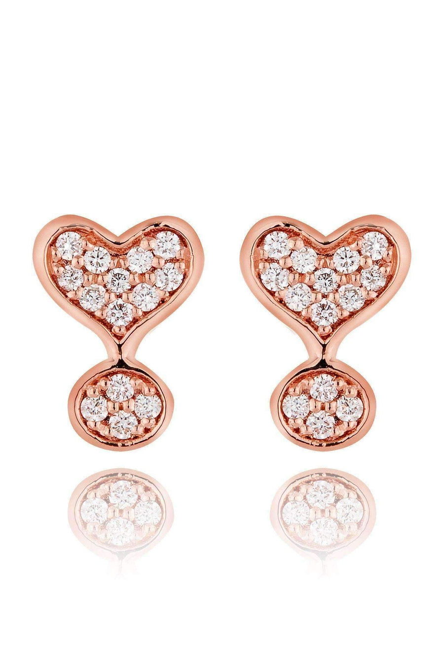 Exclamation Diamond Pavé Stud Earrings Earrings Lark and Berry Rose Gold