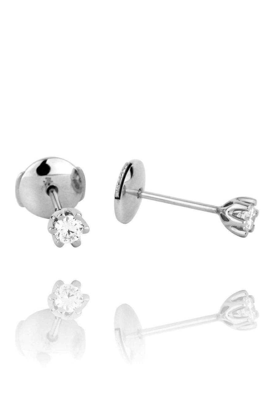 Stellar Solitaire Diamond Stud Earrings Earrings Lark and Berry Pair .21ct White Gold