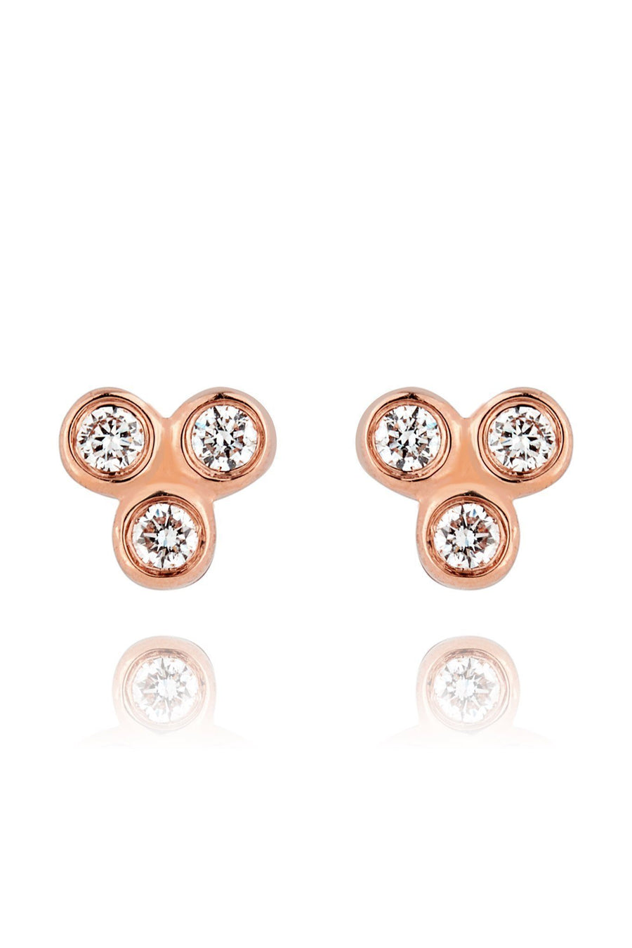 Trinity Diamond Mini Stud Earrings Earrings Lark and Berry Pair Rose Gold