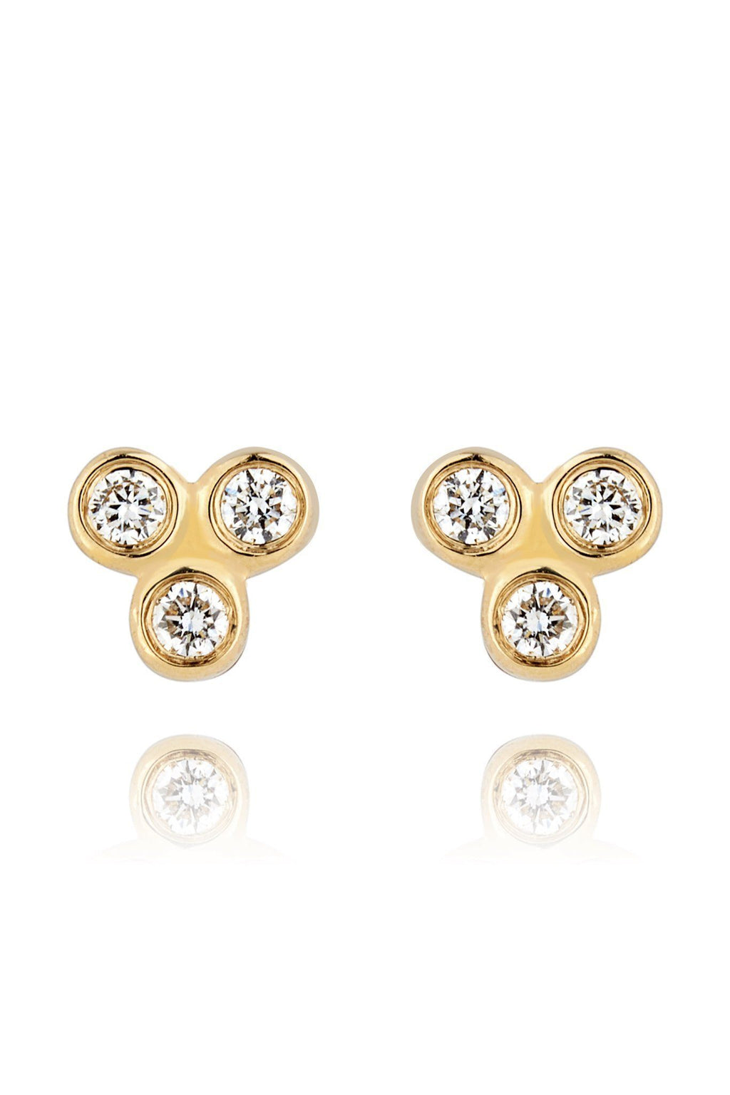 Trinity Diamond Mini Stud Earrings Earrings Lark and Berry Pair Yellow Gold