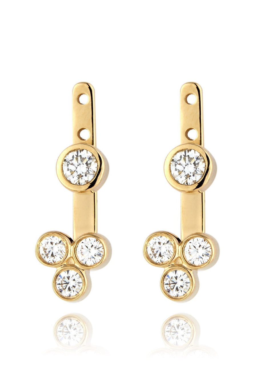 Trinity Ear Jackets Earrings Lark and Berry Pair Yellow Gold