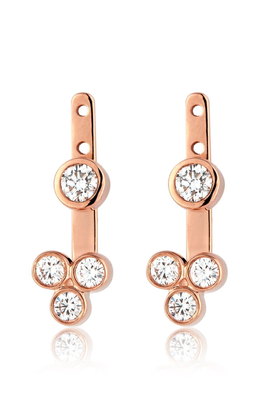 Trinity Ear Jackets Earrings Lark and Berry Pair Rose Gold