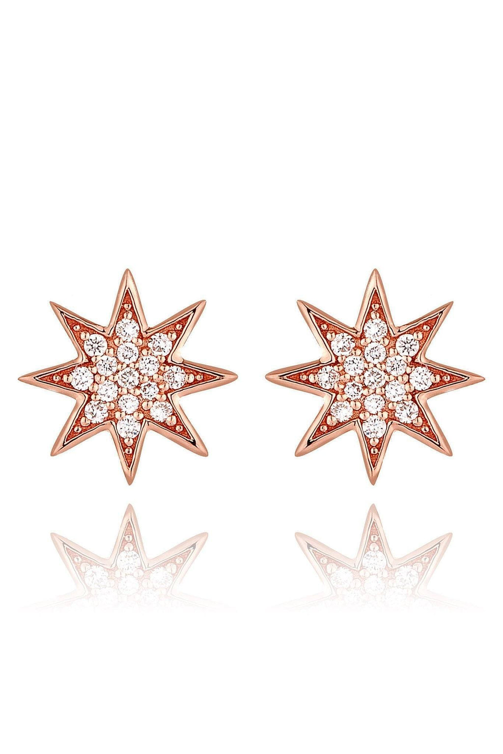 Star Diamond Pavé Stud Earrings Earrings Lark and Berry Rose Gold