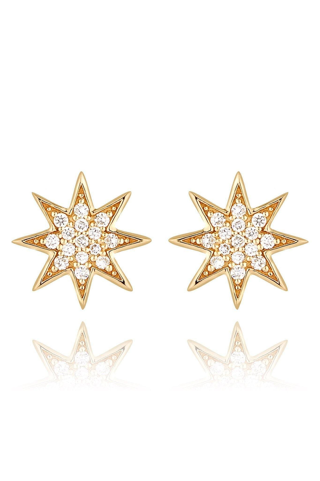 Star Diamond Pavé Stud Earrings Earrings Lark and Berry Yellow Gold