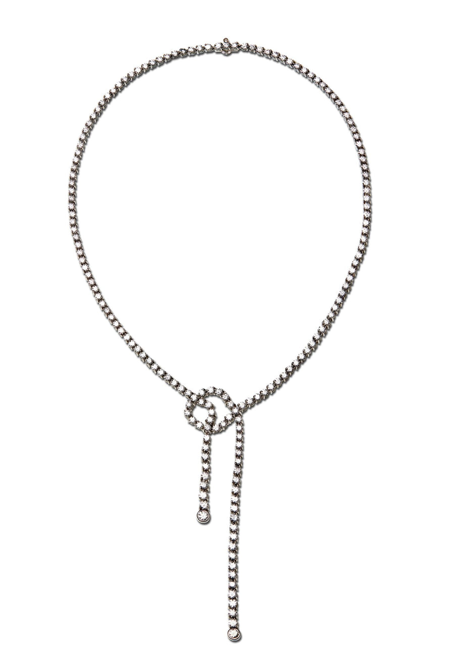 Knot Diamond Necklace in Platinum