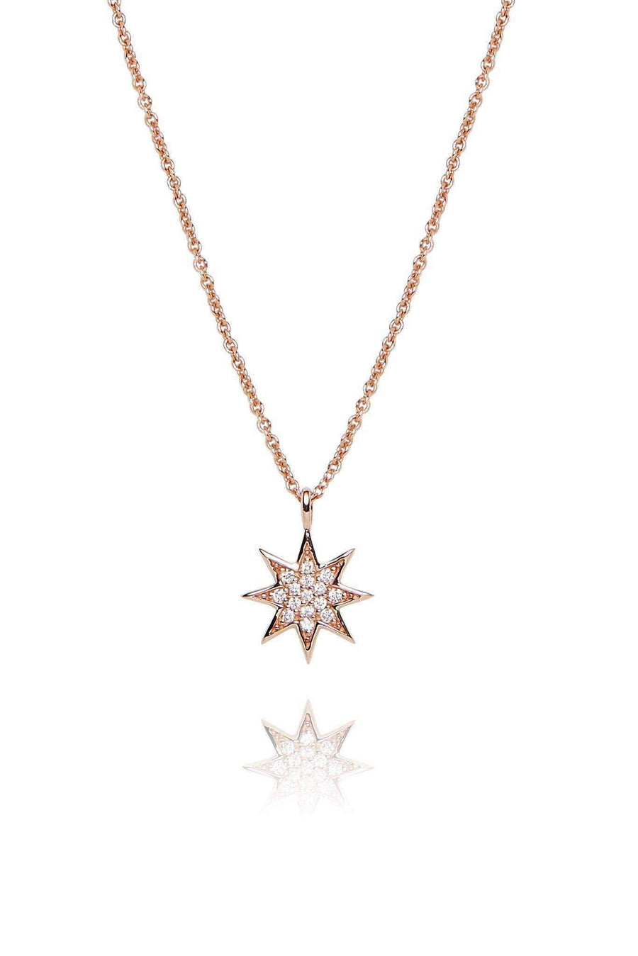 Star Diamond Pavé Pendant Necklaces Lark and Berry Rose Gold