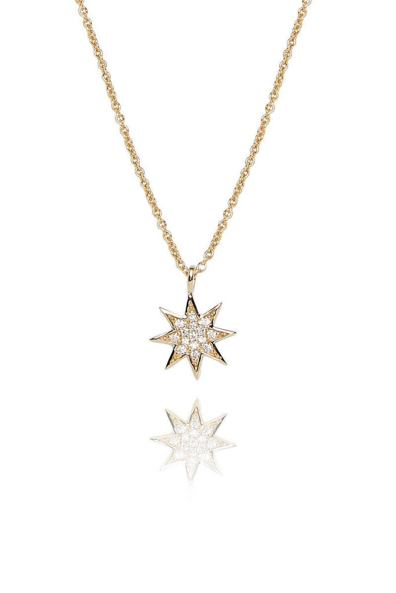 Star Diamond Pavé Pendant Necklaces Lark and Berry Yellow Gold